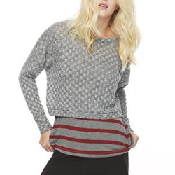 """The perfect pullover for cool nights. <a href=""""http://www.lnaclothing.com/CROPPED-CHECKER-SWEATER-at-PID25314-FW1226.aspx"""">Cropped checker sweater</a>, $74.25 (was $132.00)"""