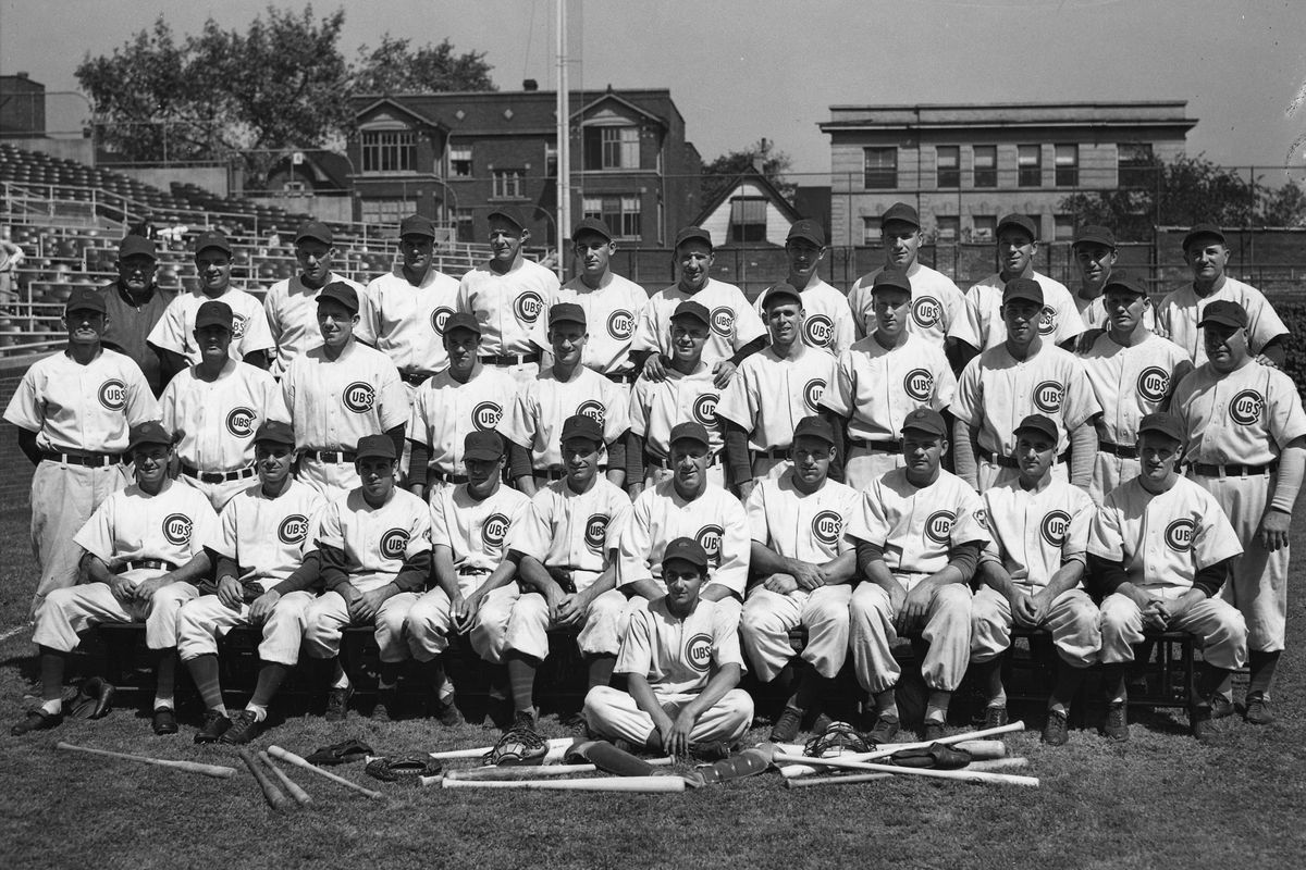 Hint: it won't be one of these guys. This is a photo of the 1945 National League champion Cubs posing at Wrigley Field