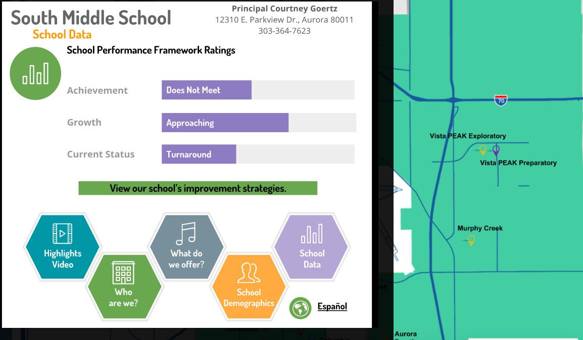 Screen shot of Aurora's new interactive map.