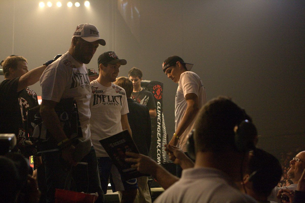 Randy and Ryan Couture after Ryan won his first pro fight against Lucas Stark. (Photo by Dennis Tarwood)