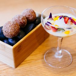 yuzu doughnuts and a citrus, passion fruit, and coconut soup