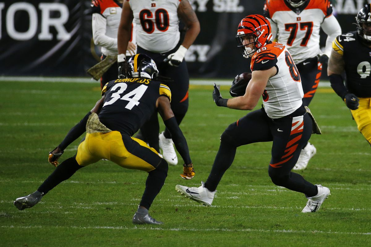 Drew Sample #89 of the Cincinnati Bengals makes a catch against the Pittsburgh Steelers during their NFL game at Heinz Field on November 15, 2020 in Pittsburgh, Pennsylvania.