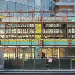 Clark Street facade of the Hotel Zachary, the finish brickwork is in progress