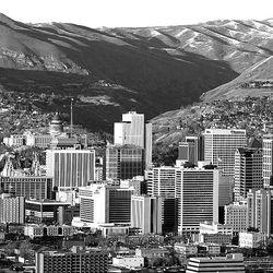 The Salt Lake City skyline and downtown area via aerial photo via KSL Chooper 5 Feb 24, 2007.   Jeffrey D. Allred/photo