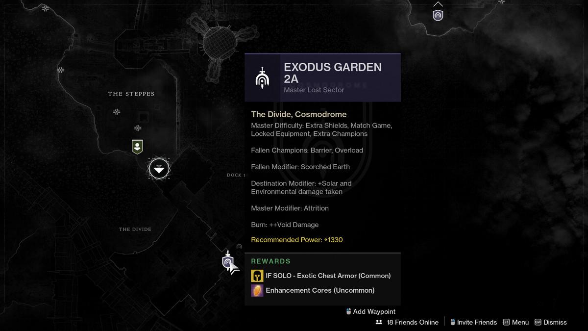 Season of the Chosen Exodus Garden 2A Master Lost Sector