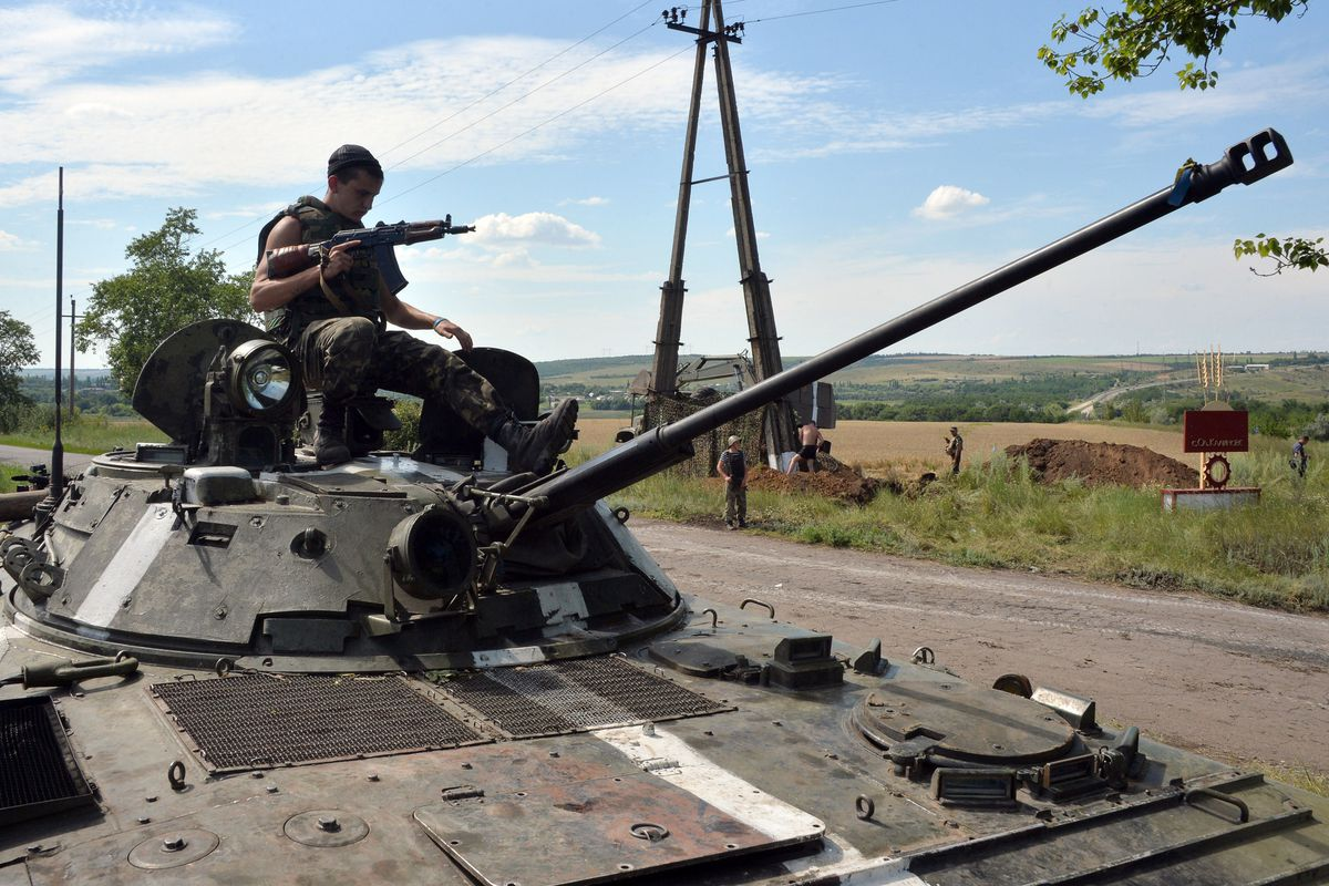 A Ukrainian tank crew in the country's east