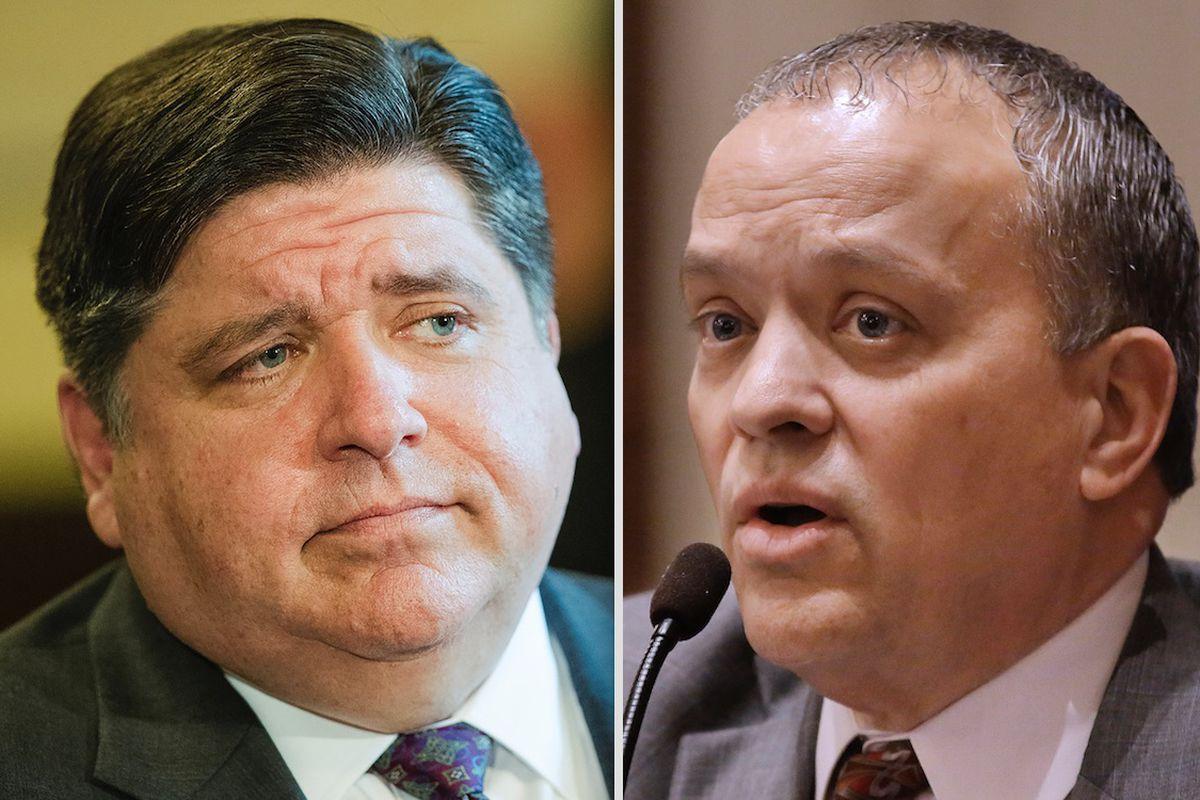 Gov. J.B. Pritzker, left; state Rep. Luis Arroyo, D-Chicago, right.
