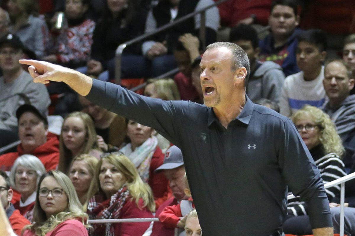 Utah head coach Larry Krystkowiak shouts to his team in the first half during an NCAA college basketball game against Southern California Thursday, Jan. 12, 2017, in Salt Lake City. (AP Photo/Rick Bowmer)