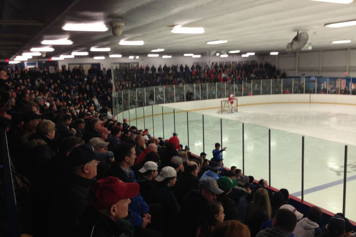 The packed Stoneham Arena last year for the 2014 Super 8 play-in games