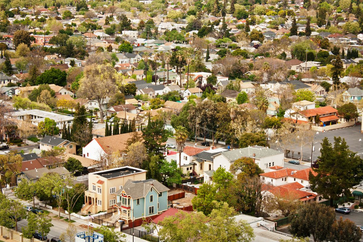 An aerial view of San Jose residential homes.