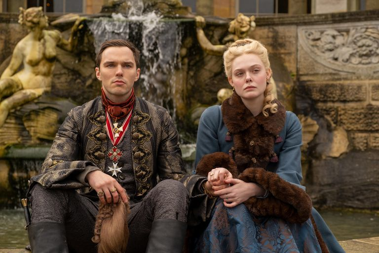 Nicholas Hoult and Elle Fanning as Emperor Peter III and Catherine the Great in The Great