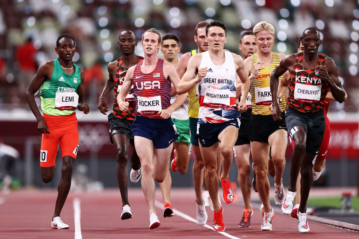 ole Hocker of Team United States, Jake Wightman of Team Great Britain, Robert Farken of Team Germany and Timothy Cheruiyot of Team Kenya compete in the Men's 1500m Semi Final on day thirteen of the Tokyo 2020 Olympic Games at Olympic Stadium on August 05, 2021 in Tokyo, Japan.