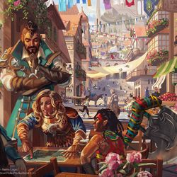 """A street view of the busy city of Emon outside the """"Laughing Lamia Inn,"""" where adventurers converse over a map."""