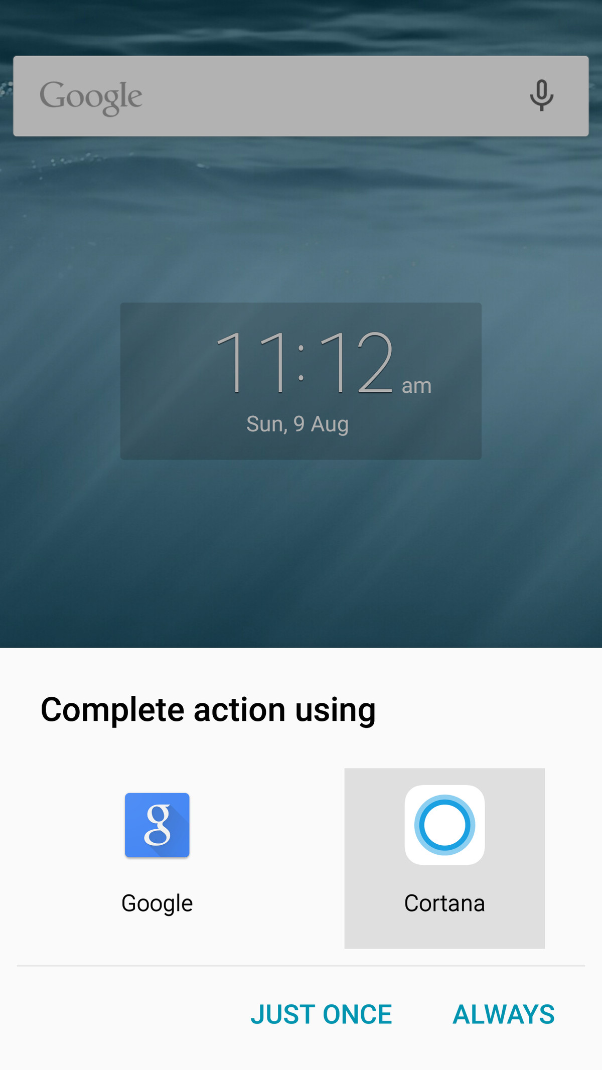 Cortana Android prompt