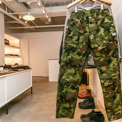 """<b>Sassafras</b> pants, <a href=""""http://store.inventorymagazine.com/collections/pants/products/fall-leaf-pants-camo-duck-canvas"""">$285</a>"""