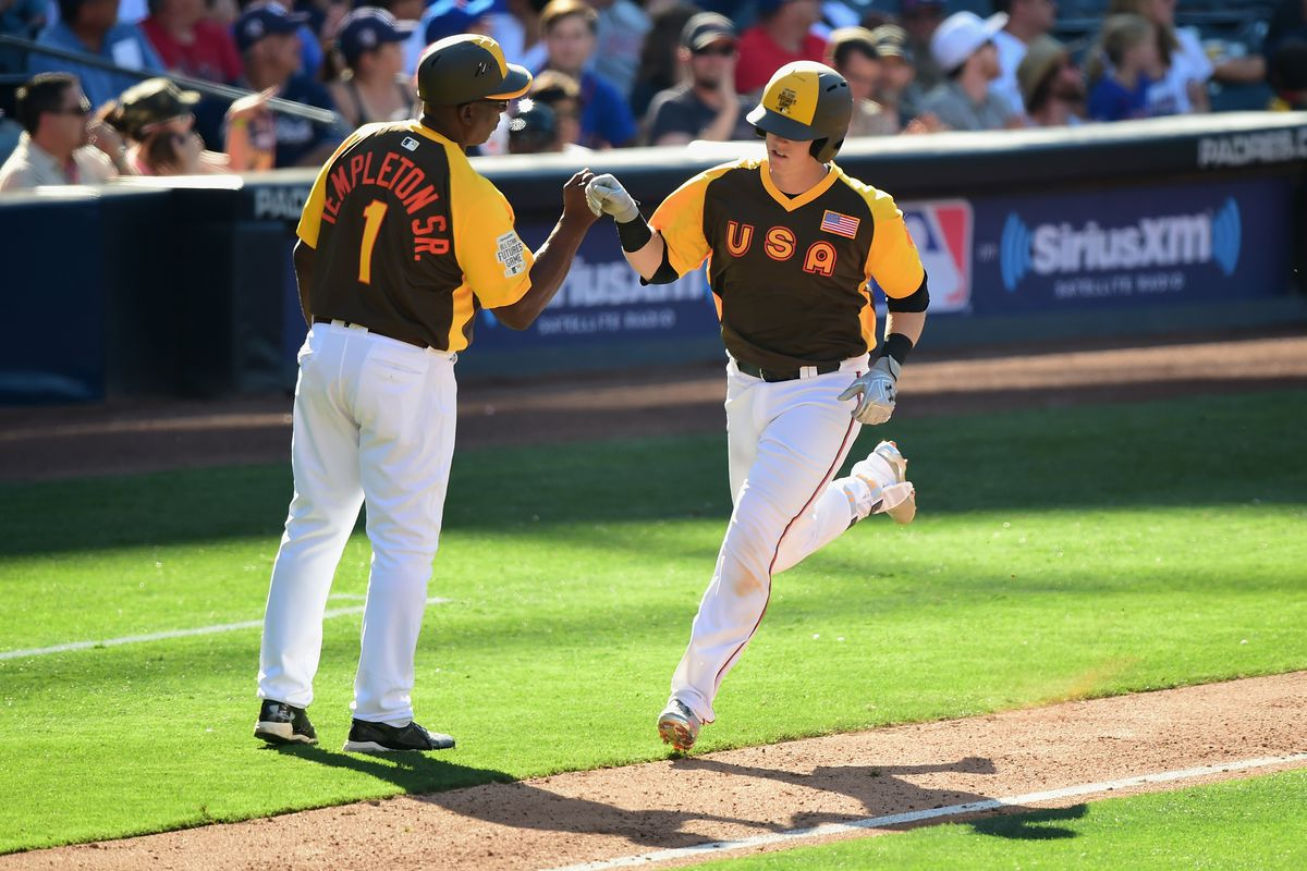 Chance Sisco homers back during the Futures Game in July.