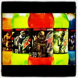 Halo Reach Honor The Code Mountain Dew bottles taken by Robby Green via Instagram.
