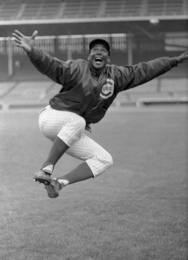 Ernie Banks clicks his heels in 1970 after hitting his 500th home run.   Sun-Times Media