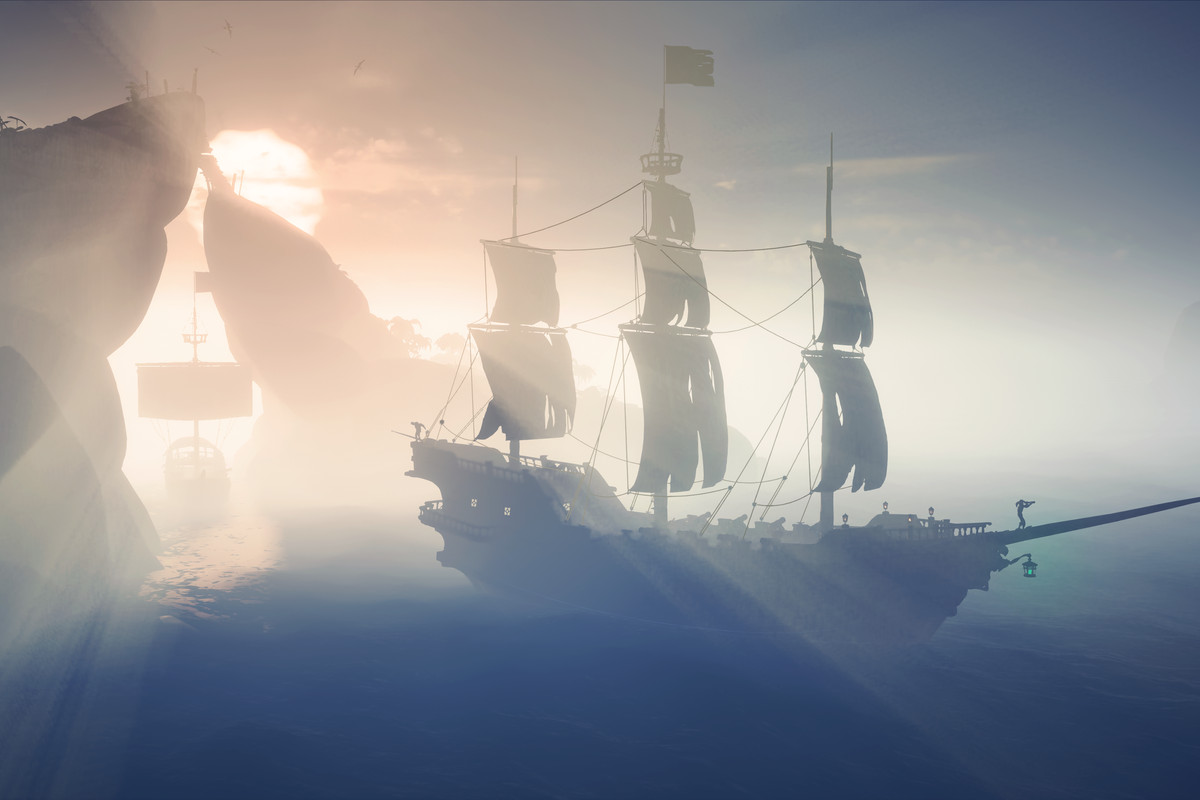 A pirate galleon waits in the fog.