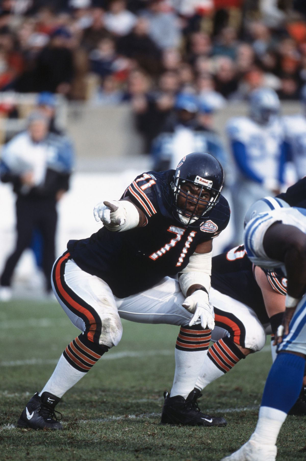 James Williams #71 of the Chicago Bears points