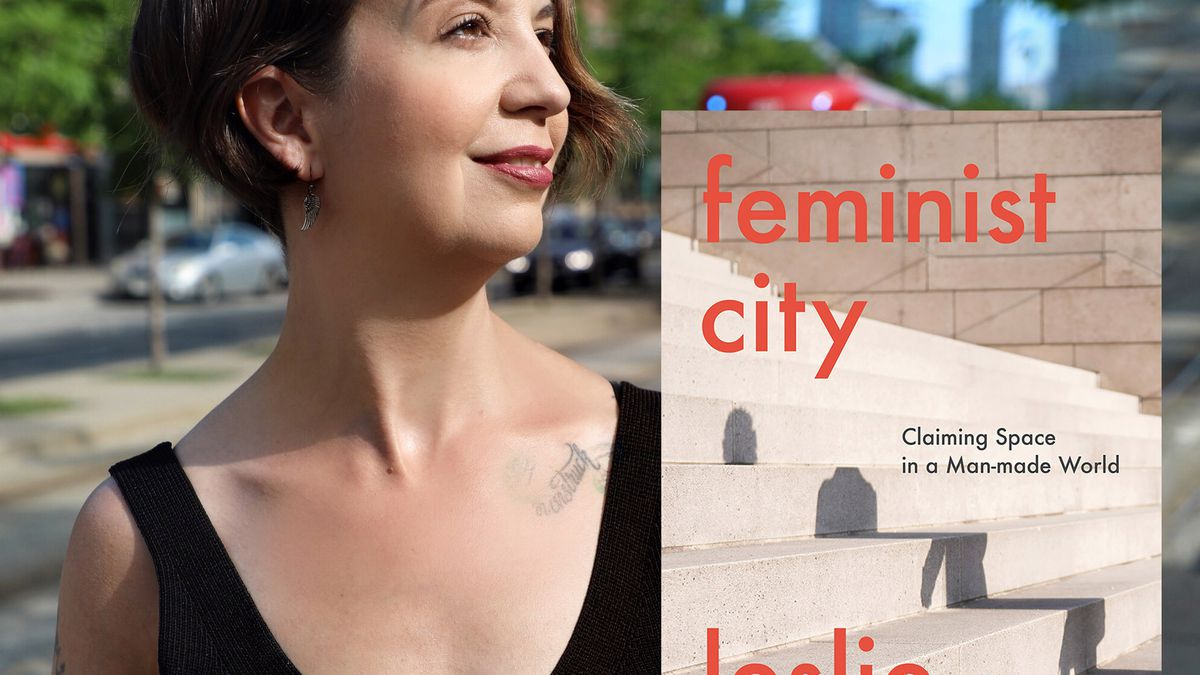 """A portrait in profile of a woman with short brown hair looking over her left shoulder. She is wearing a black sleeveless shirt. The portrait is next to a cover of a book that has """"Feminist City"""" in red text and an image of a shadow against concrete stairs."""