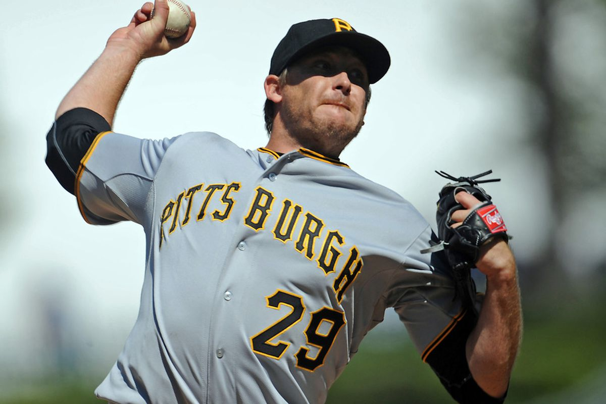April 10, 2012; Los Angeles, CA, USA; Pittsburgh Pirates starting pitcher Kevin Correia (29) during of the game against the Los Angeles Dodgers at Dodger Stadium. Dodgers won 2-0. Mandatory Credit: Jayne Kamin-Oncea-US PRESSWIRE