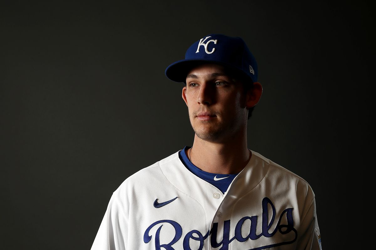 Daniel Lynch #82 of the Kansas City Royals poses during Kansas City Royals Photo Day on February 20, 2020 in Surprise, Arizona.