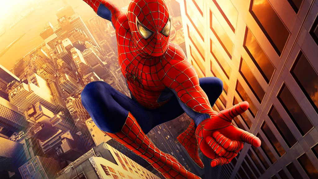 Spider-Man, on a poster for the Sam Raimi Spider-Man movies.