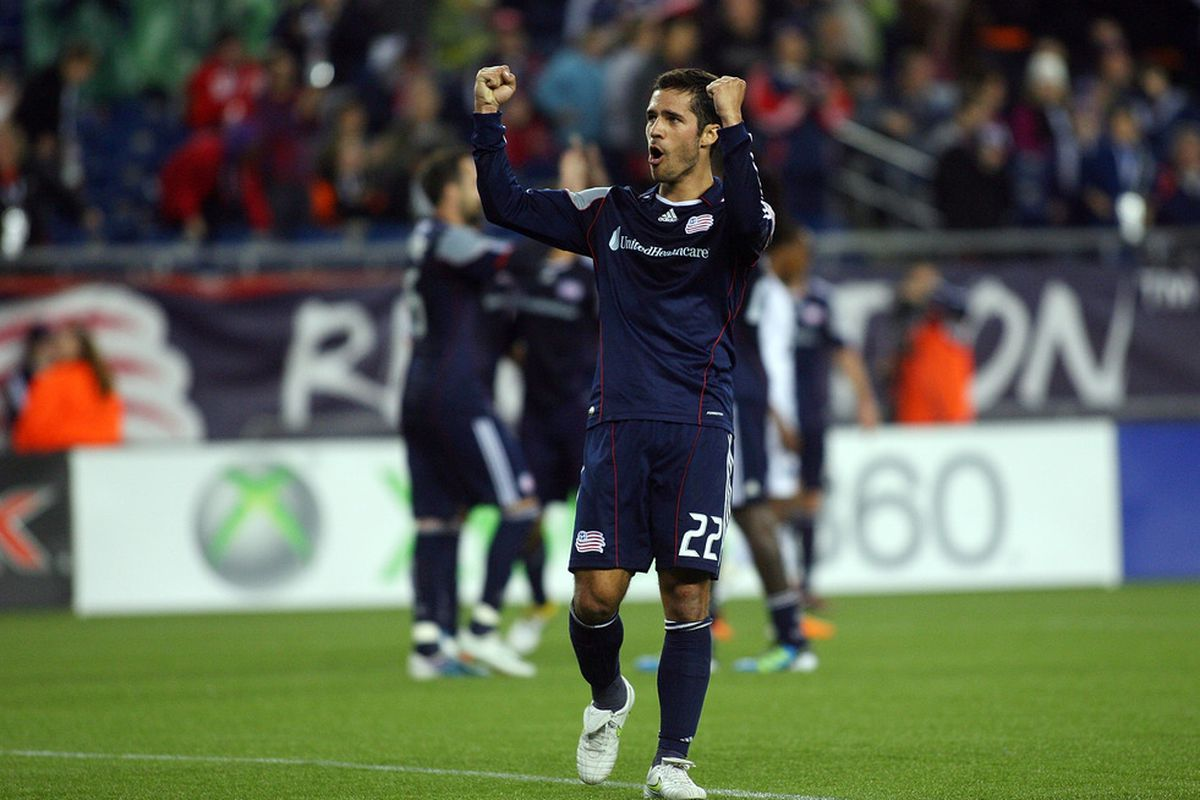 FOXBORO, MA - MAY 14:  Benny Feilhaber of the New England Revolution reacts after the Revolution beat the Vancouver Whitecaps FC 2-0 at Gillette Stadium May 14, 2011 in Foxboro, Massachusetts. (Photo by Gail Oskin/Getty Images)