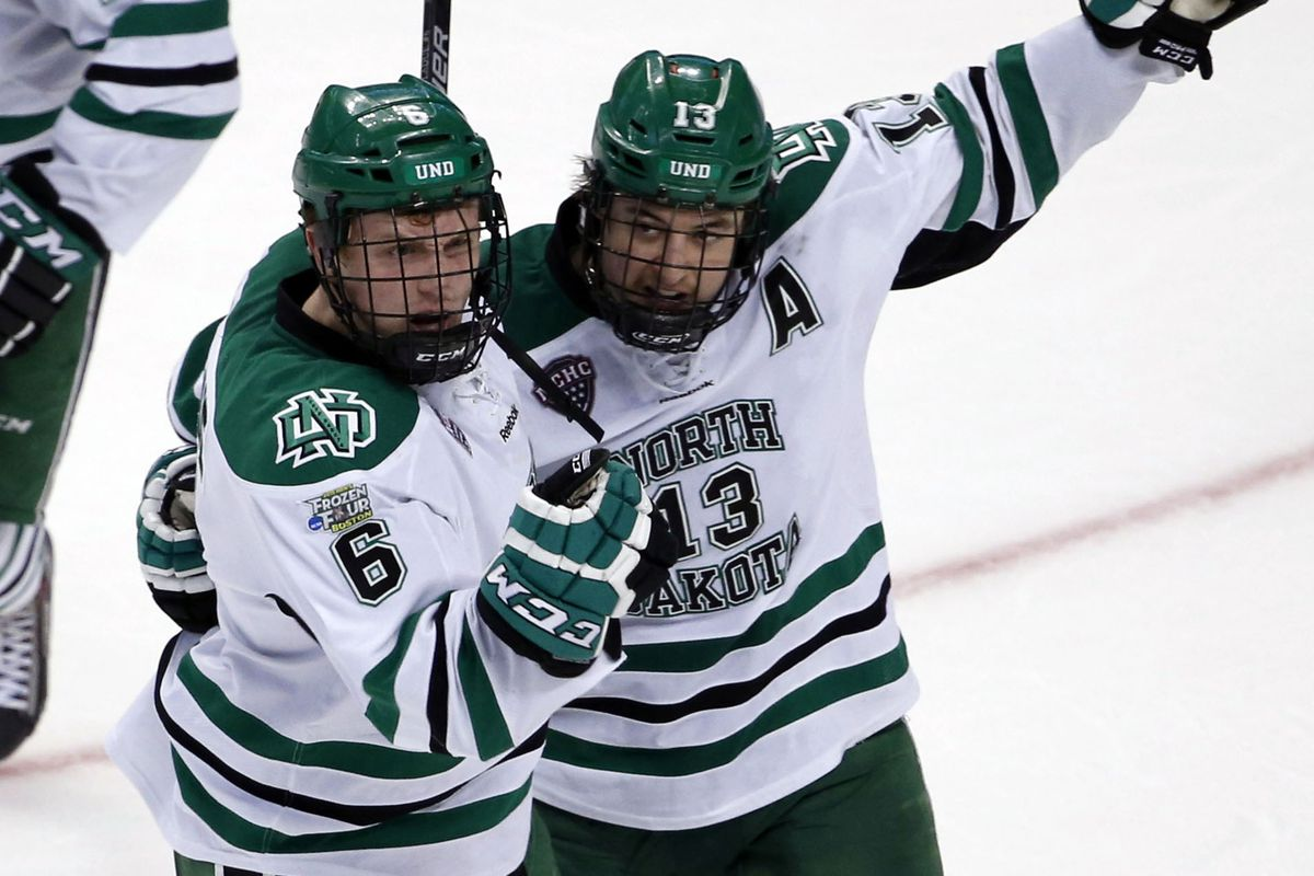North Dakota player celebrate that they'll never have to hear about the gorram nickname again.