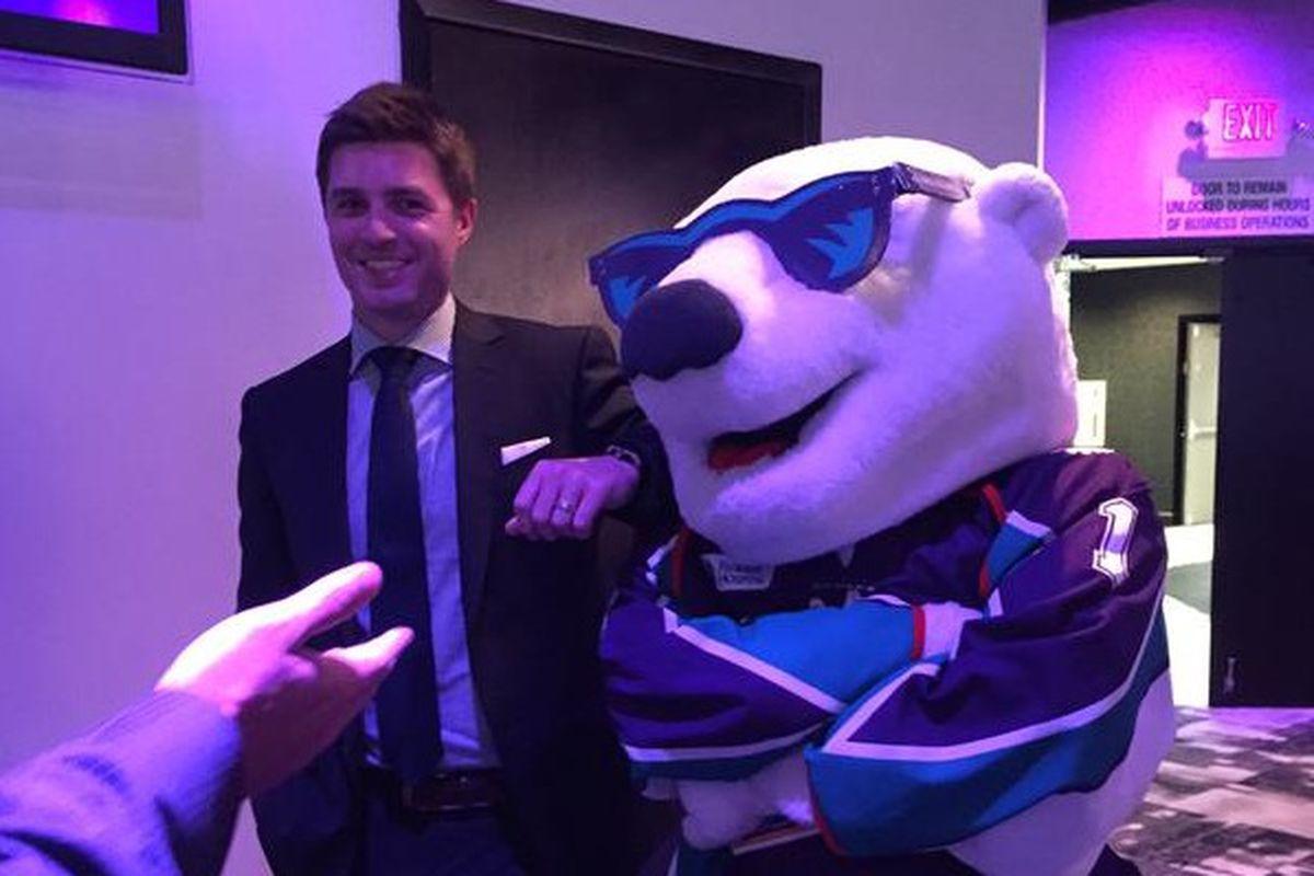 Kyle Dubas and Shades the Bear