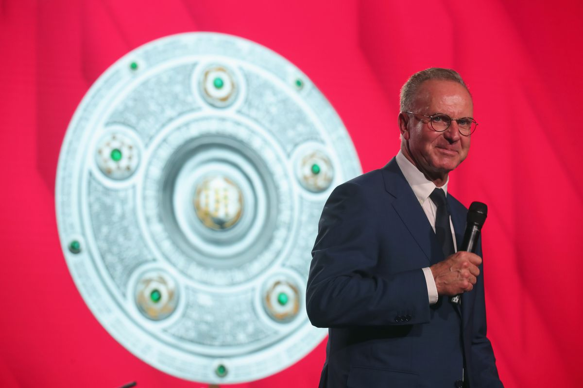 MUNICH, GERMANY - MAY 12: Karl-Heinz Rummenigge, CEO of FC Bayern Muenchen speaks during the FC Bayern Muenchen Celebration 2018 Party at Nockherberg on May 12, 2018 in Munich, Germany.