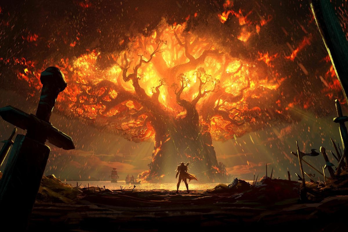 World of Warcraft: Battle for Azeroth - The World Tree of Darnassus burns