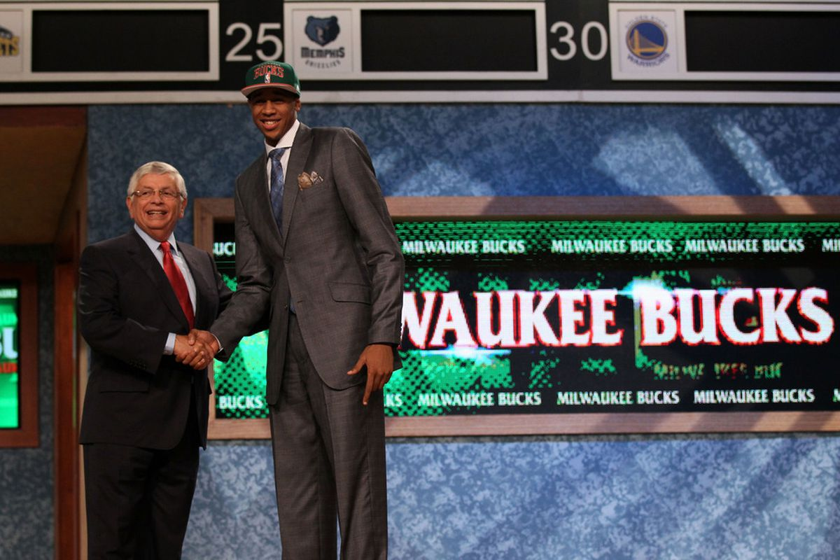 I think David Stern is the one on the left... (Photo by Elsa/Getty Images)
