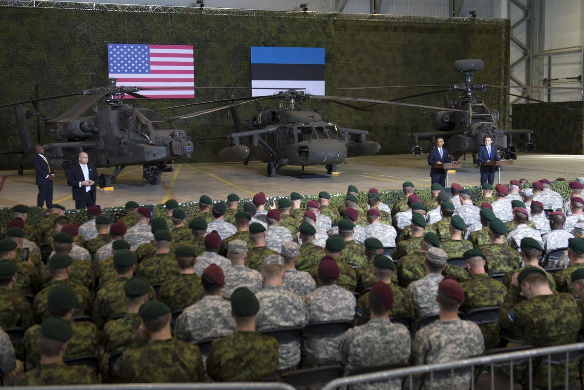 President Obama speaks to US and Estonian soldiers in the Estonian capital of Tallinn, where he pledged the US would come to Estonia's defense in the case of aggression by its neighbor, Russia (SAUL LOEB/AFP/Getty)