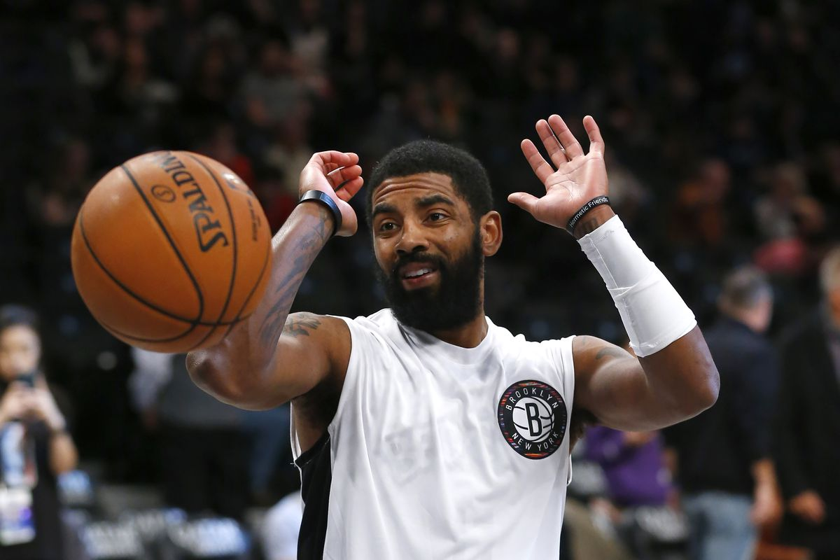 Brooklyn Nets guard Kyrie Irving during warm up at Barclays Center.
