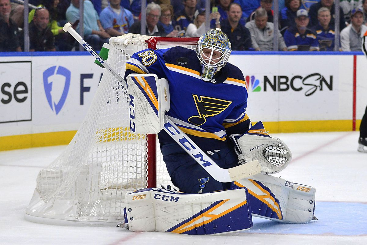 St. Louis Blues goaltender Jordan Binnington (50) makes a save during the first period in game seven of the second round of the 2019 Stanley Cup Playoffs against the Dallas Stars at Enterprise Center.