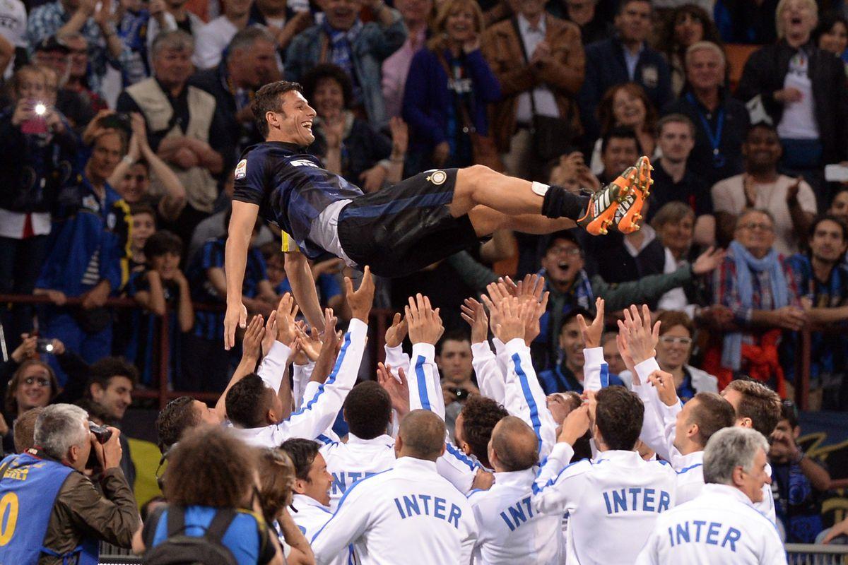 Paying tribute to Inter captain, Javier Zanetti.