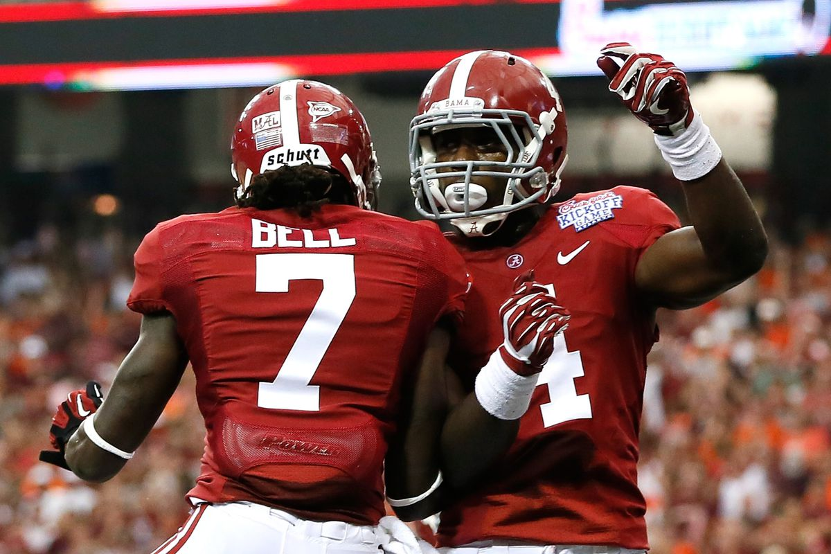 TJ Yeldon and Kenny Bell celebrate the first offensive TD of the season.