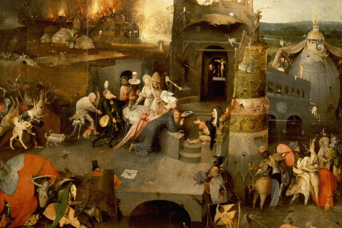 The triptych of 'The Temptation of St Anthony' by Hieronymus Bosch (1450 1516)