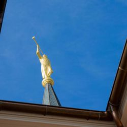 The statue of the Angel Moroni stands atop the Provo City Temple, Monday, Jan. 11, 2016.