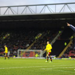 WATFORD, ENGLAND - FEBRUARY 02: Bolton manager Dougie Freedman gestures during the npower Championship match between Watford and Bolton Wanderers at Vicarage Road on February 02, 2013 in Watford England. (Photo by Charlie Crowhurst/Getty Images)