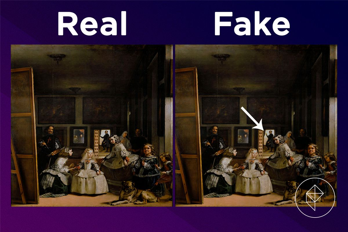 A comparison showing the fake version of the Solemn Painting has a man raising his arm