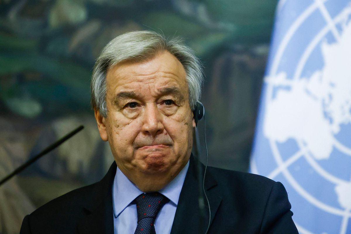In this file photo United Nations Secretary-General Antonio Guterres attends a joint press conference with Russian Foreign Minister following their talks in Moscow on May 12, 2021.