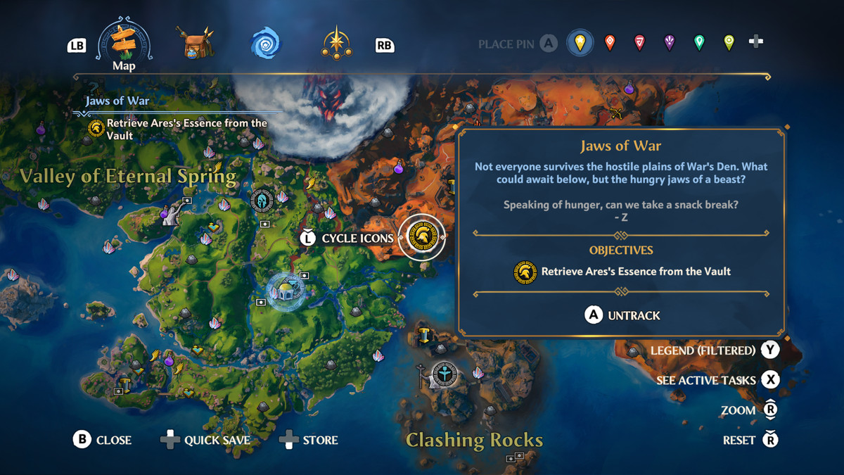 The map location of the Vault of Ares in Immortals Fenyx Rising