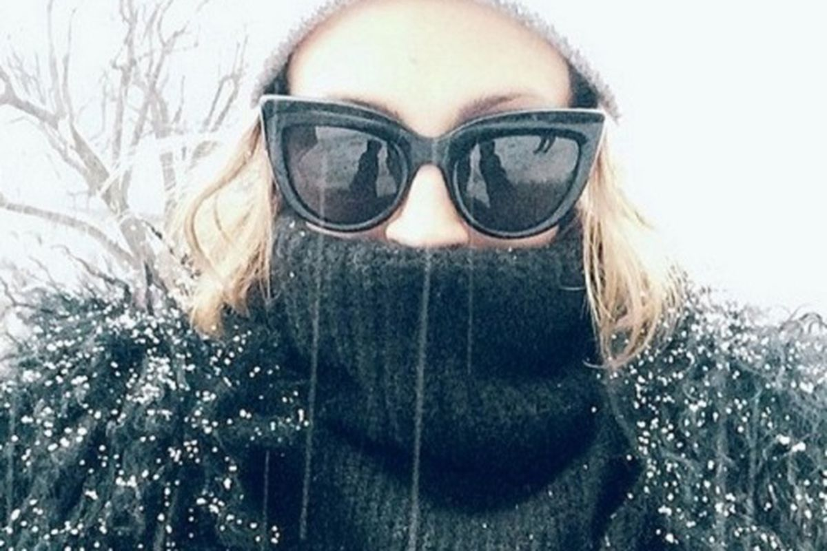 """Richie snapped this snowy selfie while in the area yesterday for a QVC spot. Image credit: <a href=""""http://instagram.com/p/kPO0KMJuvv/"""">Nicole Richie/Instagram</a>"""