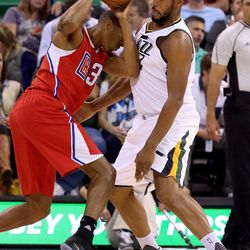 Utah Jazz center Boris Diaw (33) plays in a basketball game against the Los Angeles Clippers at the Vivant Smart Home Arena in Salt Lake City on Monday, Oct. 17, 2016.
