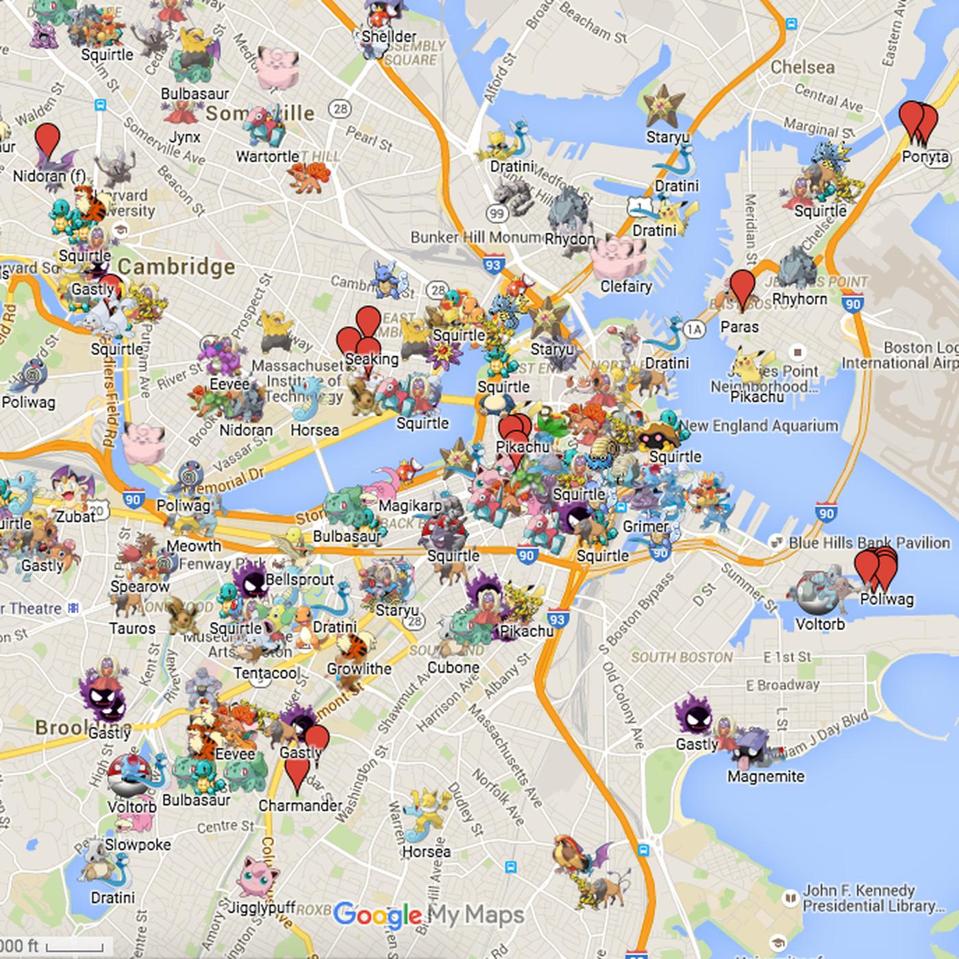 Pokemon Go Boston Map Boston has an absurdly detailed Pokémon Go map   Polygon