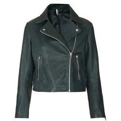 "<b>Topshop</b> Boxy Leather Biker Jacket in Green, <a href=""http://us.topshop.com/en/tsus/product/clothing-70483/jackets-2224753/biker-bomber-jackets-70594/boxy-leather-biker-jacket-2254149?refinements=category~%5b209876%7c208640%5d&bi=1&ps=200"">$370</a>"