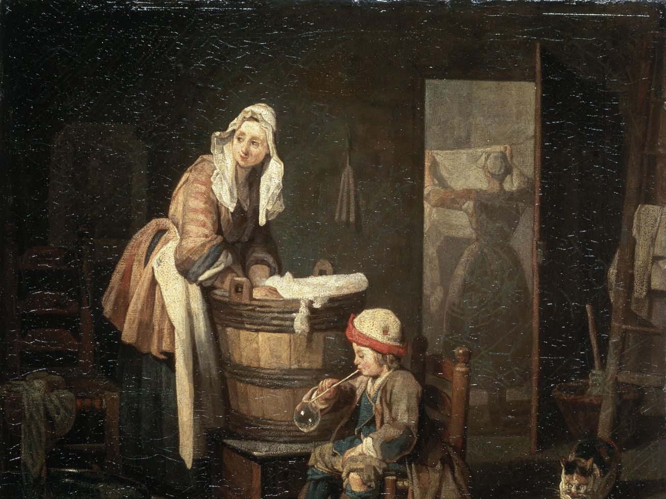 An oil painting shows a woman in 18th-century clothing washing clothes in a laundry tub while a child plays at her feet and another woman folds a sheet.